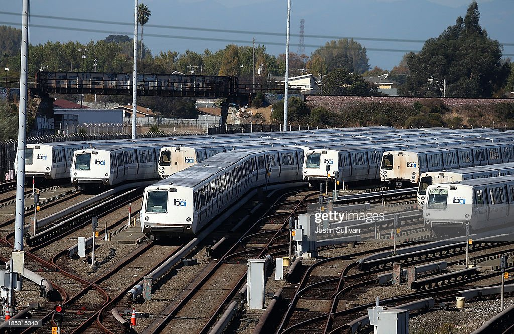 Bay Area Rapid Transit (BART) trains sit idle at a BART maintenance facility on the first day of the BART strike on October 18, 2013 in Richmond, California. For the second time this year, BART workers have gone on strike after contract negotiations between BART management and the transit agency's two largest unions fell apart yesterday afternoon. Management and unions agreed on the financial specifics of the contract but differed on workplace safety rules.