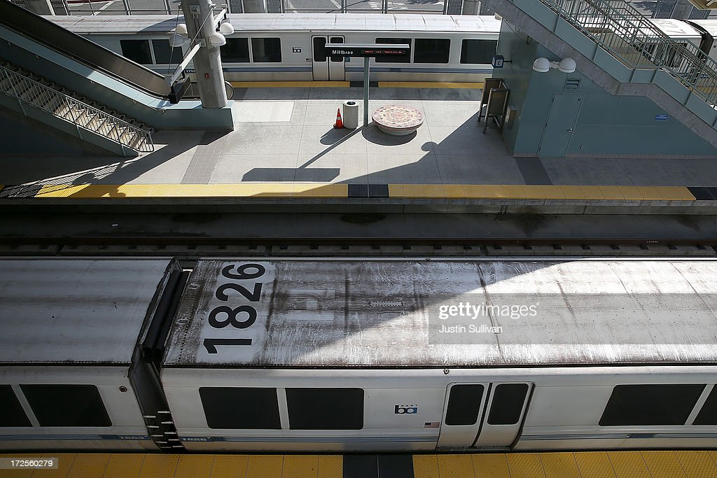 Bay Area Rapid Transit (BART) trains sit idle at the Millbrae station on July 3, 2013 in Millbrae, California. For a third day, hundreds of thousands of San Francisco Bay Area commuters are scrambling to find ways to work as two of San Francisco Bay Area Rapid Transit's (BART) largest unions remain on strike while they continue contract negotiations with management. Train operators, mechanics, station agents and maintenance workers are seeking a five percent wage increase and are fighting management who want to have workers to begin contributing to their pensions, pay more for health insurance and reduce overtime expenses.