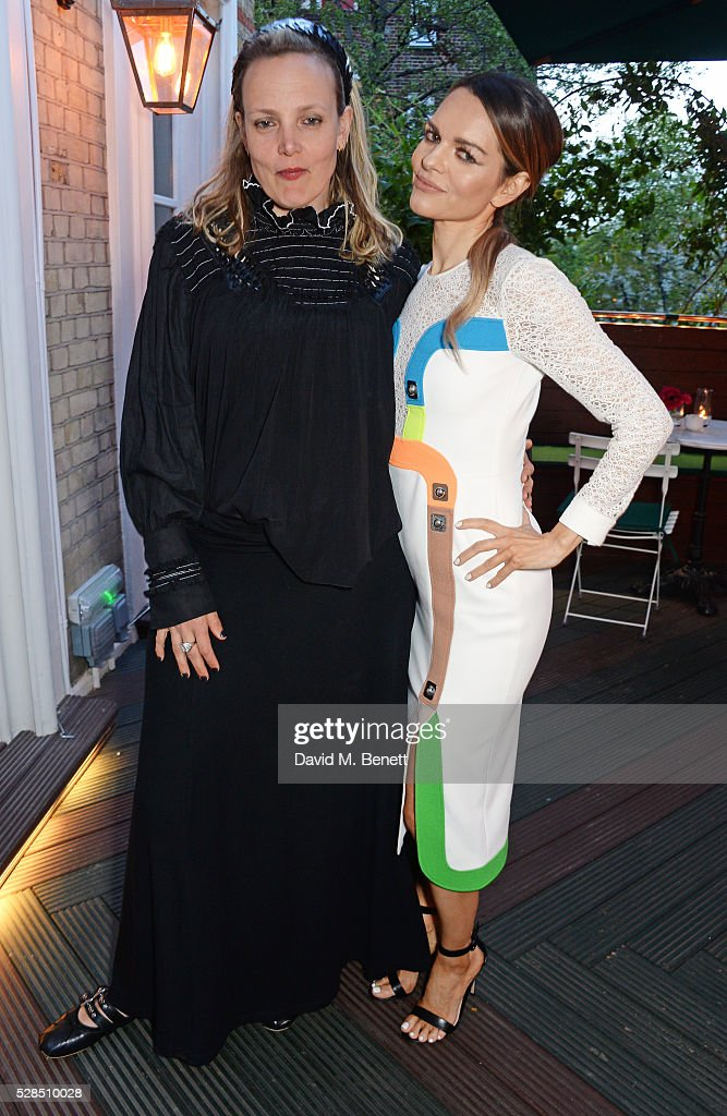 Bay Garnett (L) and Maria Hatzistefanis attend a private dinner which they hosted at Casa Cruz on May 5, 2016 in London, England.