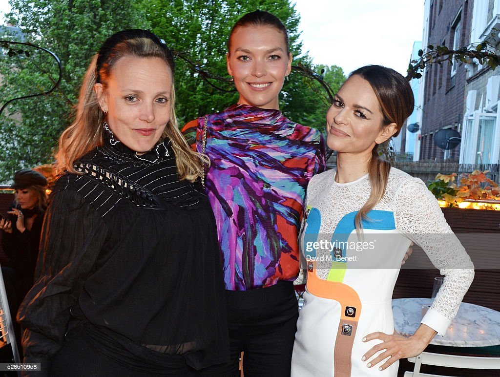 Bay Garnett, Arizona Muse and Maria Hatzistefanis attend a private dinner hosted by Rodial founder Maria Hatzistefanis & Bay Garnett at Casa Cruz on May 5, 2016 in London, England.