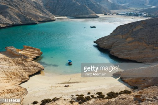 Bay in desert mountains