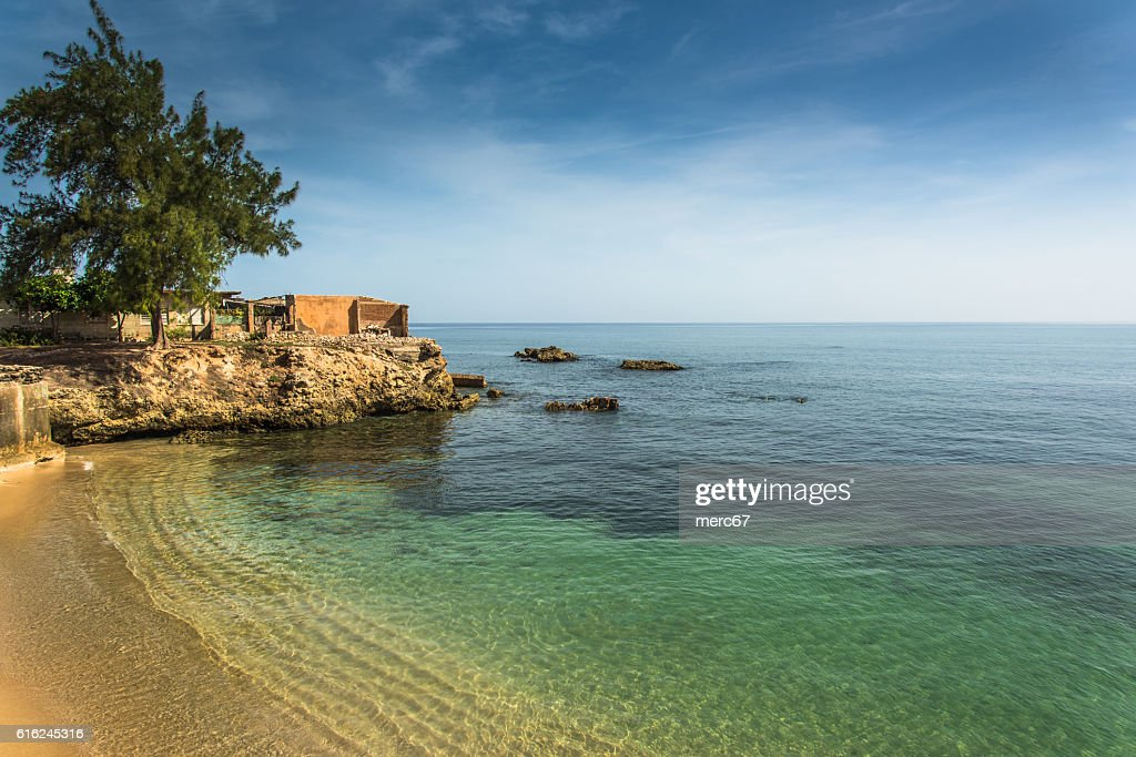 Bay in old colonial cuban city of Gibara : Stock Photo