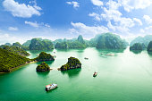 HALONG bay in vietnam. UNESCO World Heritage Site. This view from TiTop island and its most popular view for travel in Halong bay.