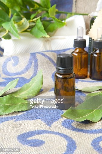 Bay leaf essential oil : Stock Photo