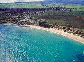 Bay of coastal seaside town aerial view