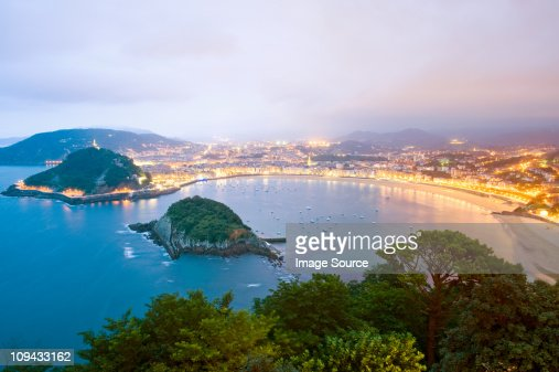 Bay of La Concha viewed from Monte Igueldo, San Sebastian, Spain