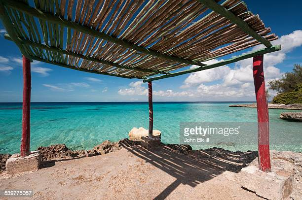Bay of Pigs seascape with sun shelter