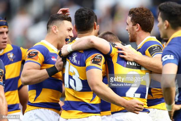 Bay of Plenty celebrates a try during the round eight Mitre 10 cup match between Otago and Bay of Plenty at Forsyth Barr Stadium on October 7 2017 in...