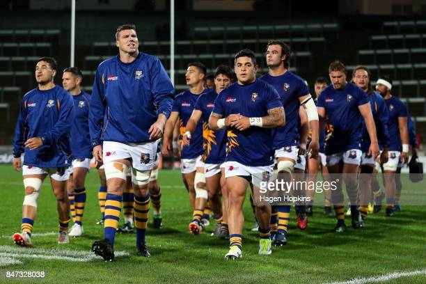 Bay of Plenty players leave the field after warming up during the round five Mitre 10 Cup match between Taranaki and Bay of Plenty at Yarrow Stadium...