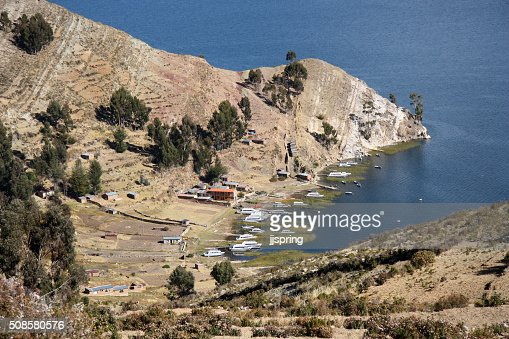 Bay on Isla del Sol, Lake Titicaca, Bolivia : Stock Photo