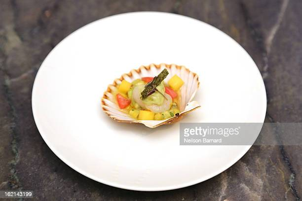 Bay scallop ceviche with avacado cilantro and pickled red onion on display the 85th Academy Awards Official New York City Viewing Party Menu Tasting...