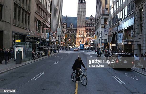 Bay Street looking at Temperence Street looking North to Old City Hall piece about the fractious relationship between cyclists pedestrians and...