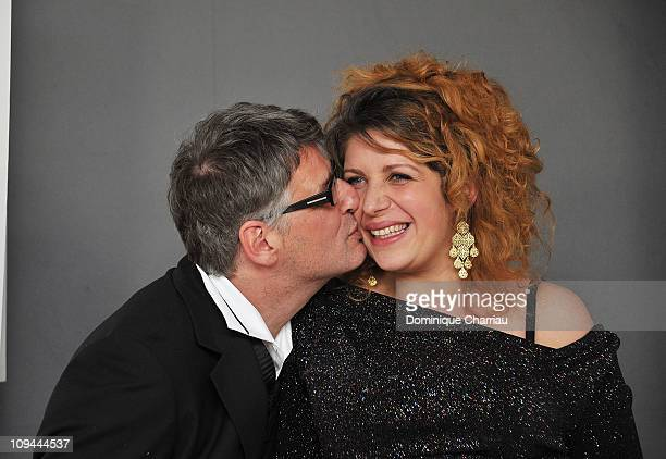 Baya Kasmi and Michel Leclerc pose with their Cesar after being awarded for Best Original Screenplay during the 36th Cesar Film Awards at Theatre du...