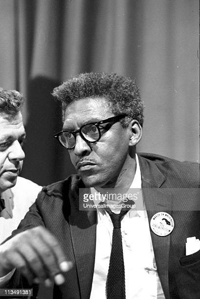 Bayard Rustin American civil rights activist Rustin in the Statler Hotel at a news briefing on the Civil Rights March on Washington DC USA 27 August...