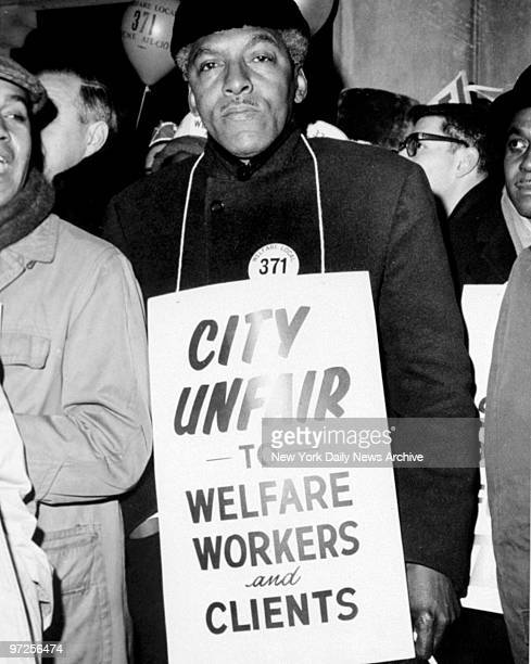 Bayard Rustin representing the Negro Labor Council during a welfare workers strike at Murray St