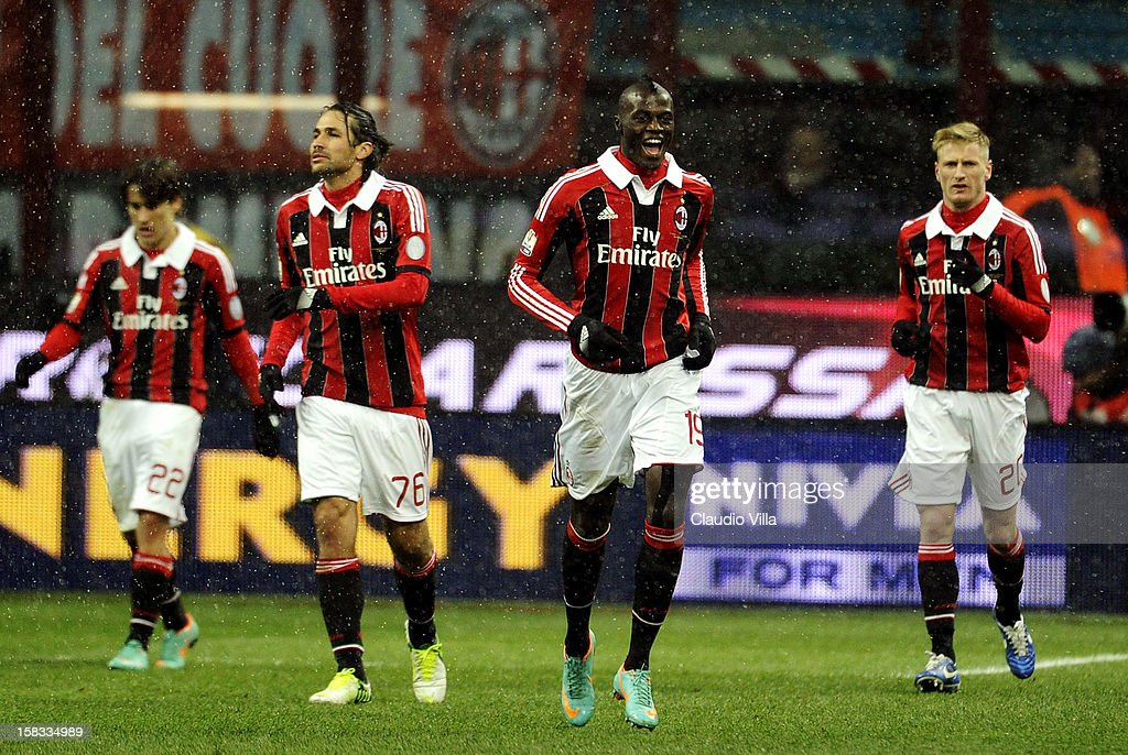 Baye Babacar Niang of AC Milan celebrates scoring the second goal during the TIM Cup match between AC Milan and Reggina Calcio at San Siro Stadium on...