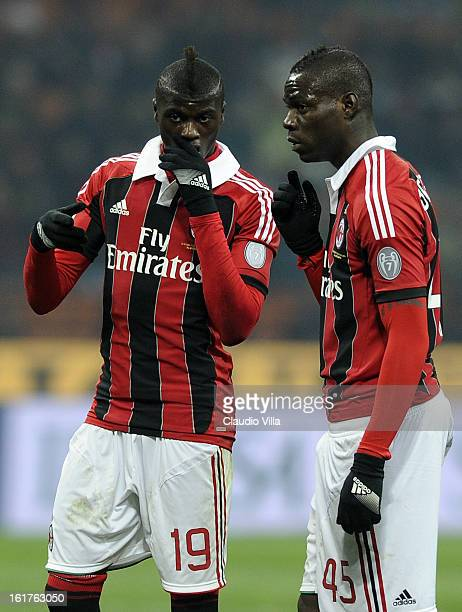 Baye Niang and Mario Balotelli of AC Milan during the Serie A match between AC Milan and Parma FC at San Siro Stadium on February 15 2013 in Milan...
