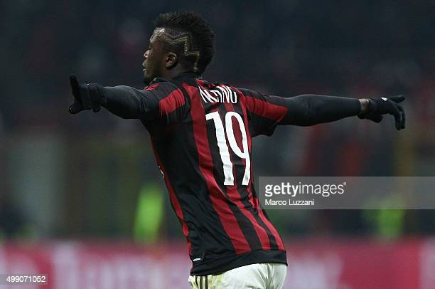 Baye Niang of AC Milan celebrates his goal during the Serie A match between AC Milan and UC Sampdoria at Stadio Giuseppe Meazza on November 28 2015...
