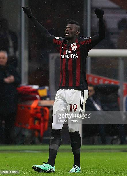 Baye Niang of AC Milan celebrates his goal during the Serie A match between AC Milan and Udinese Calcio at Stadio Giuseppe Meazza on February 7 2016...