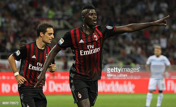 M' Baye Niang of AC Milan celebrates his goal during the Serie A match between AC Milan and SS Lazio at Stadio Giuseppe Meazza on September 20 2016...