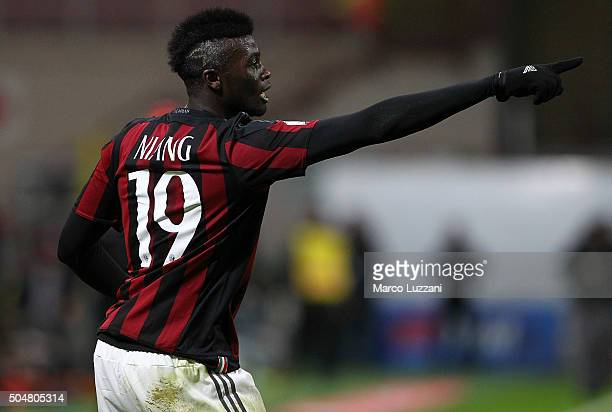 Baye Niang of AC Milan celebrates his goal during the TIM Cup match between AC Milan and Carpi FC at Stadio Giuseppe Meazza on January 13 2016 in...