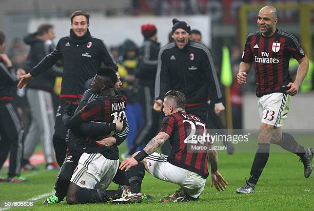 Baye Niang of AC Milan celebrates his goal with his teammate Mattia De Sciglio during the Serie A match between AC Milan and FC Internazionale Milano...