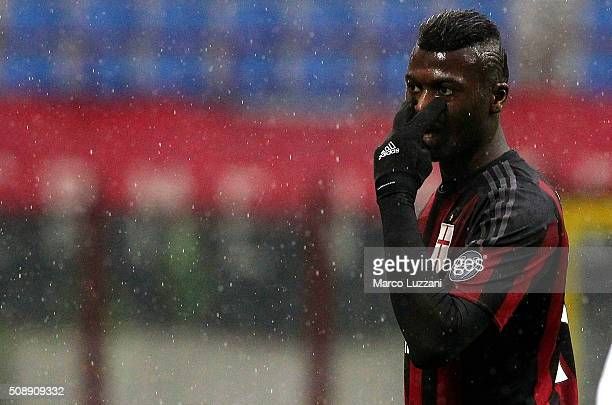 Baye Niang of AC Milan gestures during the Serie A match between AC Milan and Udinese Calcio at Stadio Giuseppe Meazza on February 7 2016 in Milan...