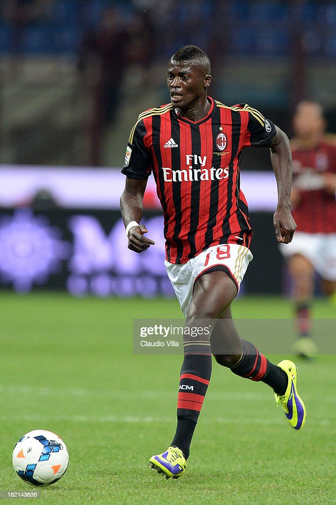 <a gi-track='captionPersonalityLinkClicked' href=/galleries/search?phrase=M%27Baye+Niang&family=editorial&specificpeople=7755200 ng-click='$event.stopPropagation()'>M'Baye Niang</a> of AC Milan in action during the Serie A match between AC Milan and UC Sampdoria at Stadio Giuseppe Meazza on September 28, 2013 in Milan, Italy.