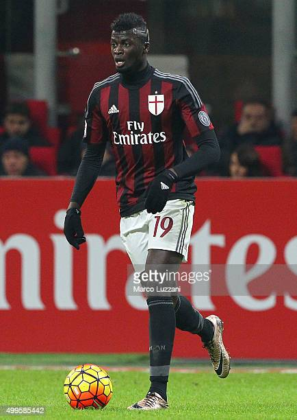 Baye Niang of AC Milan in action during the Serie A match between AC Milan and UC Sampdoria at Stadio Giuseppe Meazza on November 28 2015 in Milan...