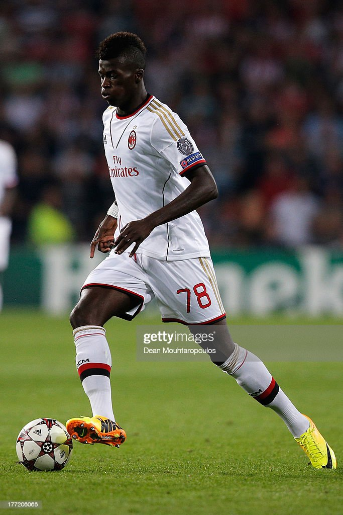 M'baye Niang of AC Milan in action during the UEFA Champions League Play-off First Leg match between PSV Eindhoven and AC Milan at PSV Stadion on August 20, 2013 in Eindhoven, Netherlands.