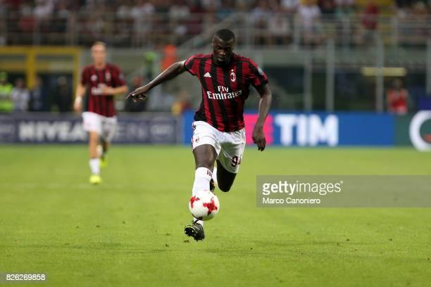 Baye Niang of AC Milan in action during the UEFA Europa League Third Qualifying Round Second Leg match between AC Milan and CSU Craiova AC Milan won...