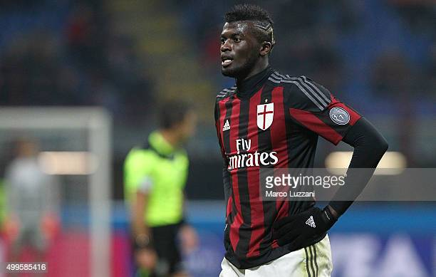 Baye Niang of AC Milan looks on during the Serie A match between AC Milan and UC Sampdoria at Stadio Giuseppe Meazza on November 28 2015 in Milan...