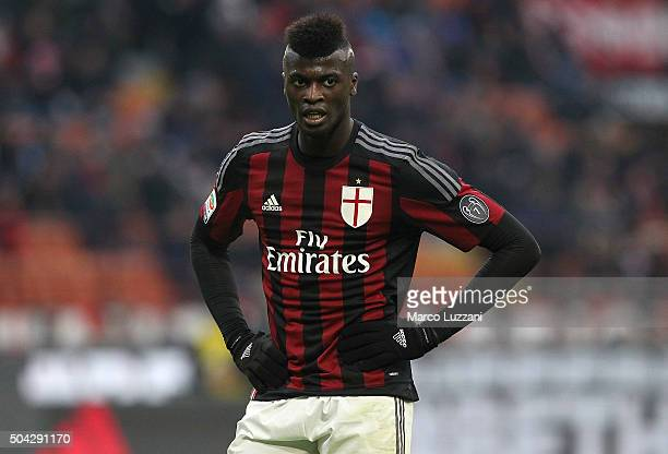 Baye Niang of AC Milan looks on during the Serie A match between AC Milan and Bologna FC at Stadio Giuseppe Meazza on January 6 2016 in Milan Italy