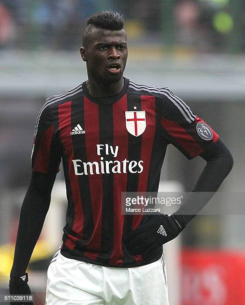 Baye Niang of AC Milan looks on during the Serie A match between AC Milan and Genoa CFC at Stadio Giuseppe Meazza on February 14 2016 in Milan Italy