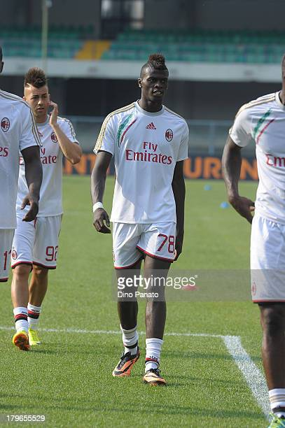 Baye Niang of AC Milan looks on during warms up before the Serie A match between Hellas Verona FC and AC Milan at Stadio Marc'Antonio Bentegodi on...