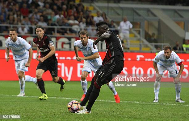 M' Baye Niang of AC Milan scores his goal from the penalty spot during the Serie A match between AC Milan and SS Lazio at Stadio Giuseppe Meazza on...