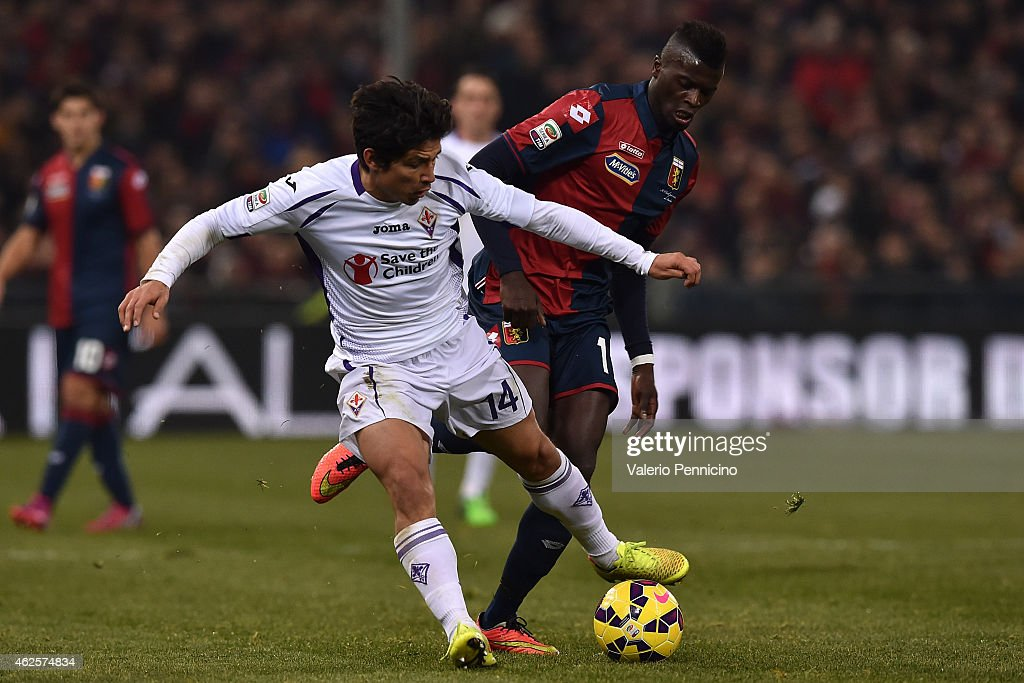 Baye Niang of Genoa CFC competes with Matias Fernandez of ACF Fiorentina during the Serie A match between Genoa CFC and ACF Fiorentina at Stadio...