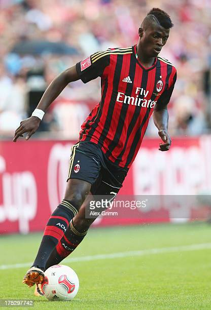 Baye Niang of Milan controles the ball during the Audi Cup match between FC Sao Paulo and AC Milan at Allianz Arena on August 1 2013 in Munich Germany