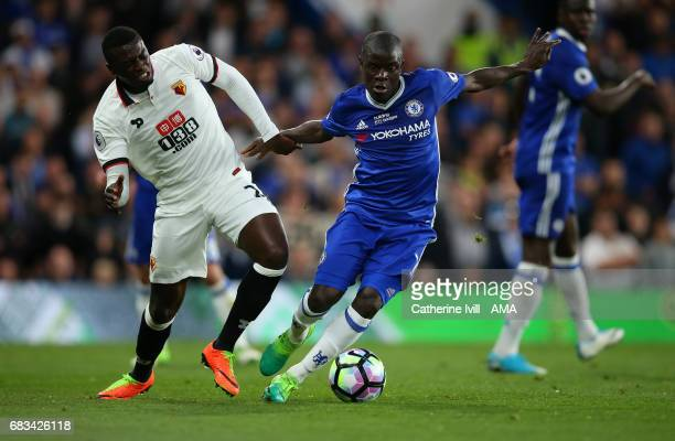 Baye Niang of Watford and N'golo Kante of Chelsea during the Premier League match between Chelsea and Watford at Stamford Bridge on May 15 2017 in...