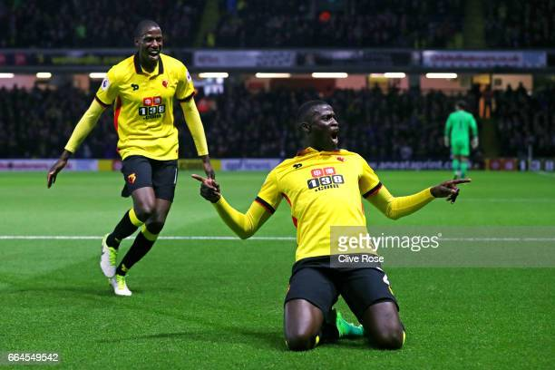 Baye Niang of Watford celebrates scoring his sides first goal during the Premier League match between Watford and West Bromwich Albion at Vicarage...