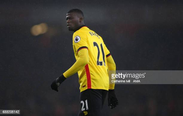 Baye Niang of Watford during the Premier League match between Arsenal and Watford at Emirates Stadium on January 31 2017 in London England