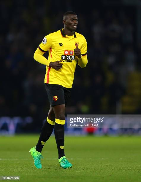 Baye Niang of Watford during the Premier League match between Watford and West Bromwich Albion at Vicarage Road on April 4 2017 in Watford England