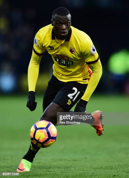 Baye Niang of Watford in action during the Premier League match between Watford and Burnley at Vicarage Road on February 4 2017 in Watford England
