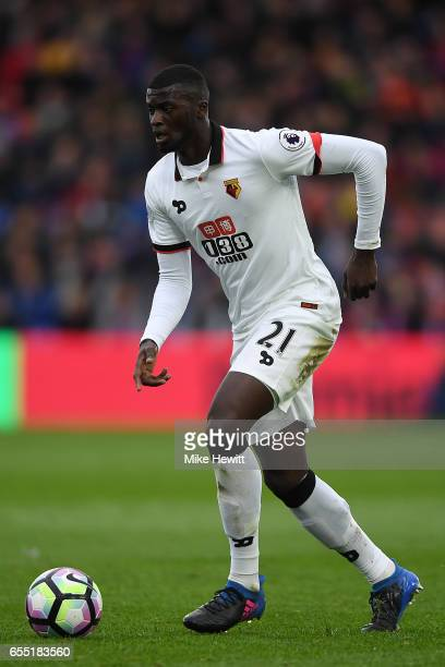 Baye Niang of Watford in action during the Premier League match between Crystal Palace and Watford at Selhurst Park on March 18 2017 in London England