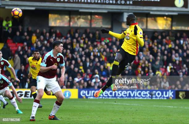 Baye Niang of Watford scores his sides second goal during the Premier League match between Watford and Burnley at Vicarage Road on February 4 2017 in...