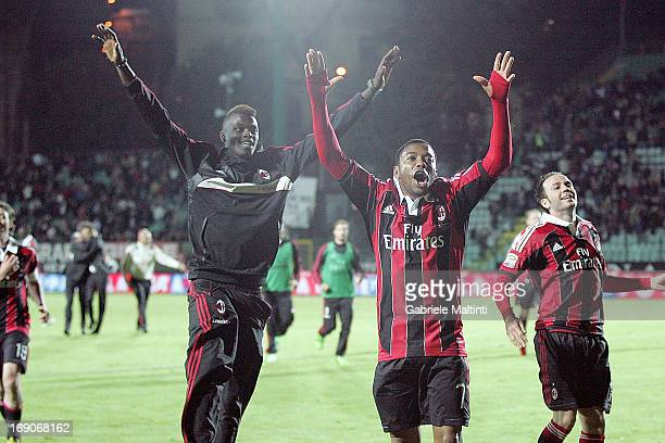 M'baye Niang Robinho and Gianpaolo Pazzini of AC Milan celebrates the victory after the Serie A match between AC Siena and AC Milan at Stadio Artemio...