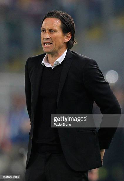 Bayer 04 Leverkusen head coach Roger Schmidt looks on during the UEFA Champions League Group E match between AS Roma and Bayer 04 Leverkusen at...