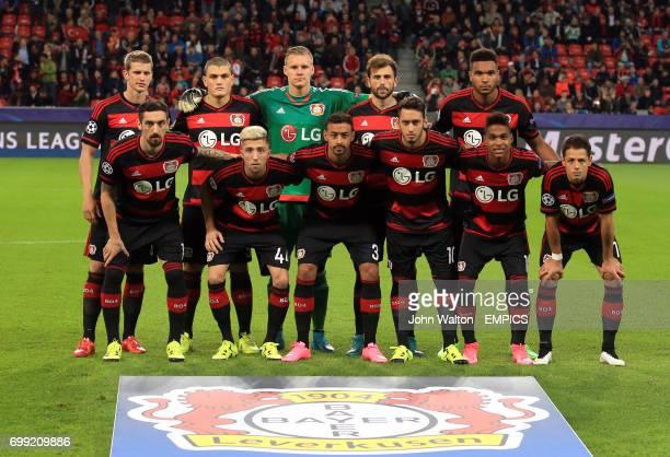 Bayer 04 Leverkusen team group Back Row LR Lars Bender Kyriakos Papadopoulos goalkeeper Bernd Leno Admir Mehmedi and Jonathan Tah From Row LR Roberto...