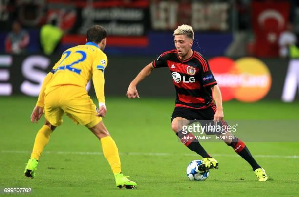 Bayer 04 Leverkusen's Kevin Kampl takes on BATE Borisov'sIgor Stasevich
