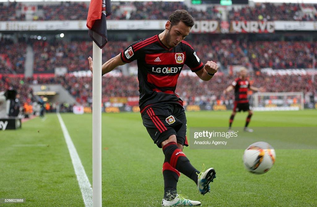 Bayer Leverkusen's Hakan Calhanoglu in action during the Bundesliga soccer match between Bayer Leverkusen and Hertha Berlin at the BayArena in Leverkusen, Germany on April 30, 2016.